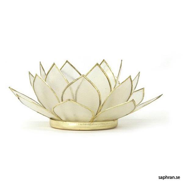 Lotusblomma ljuslykta 7 färger, vit med guldkant
