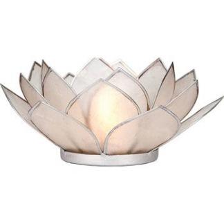 Lotusblomma ljuslykta - Vit med silverkant - Vit med silverkant
