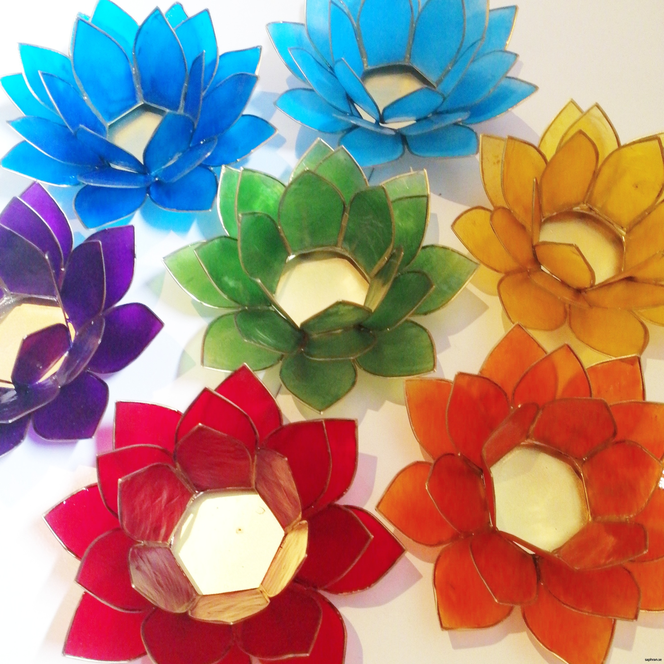 Lotusblomma ljuslykta 7 färger, chakra, regnbågen
