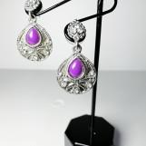 Örhängen silver med lila sten