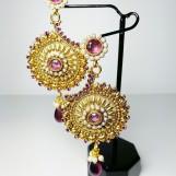 Örhängen indiska halvmåne lila stenar