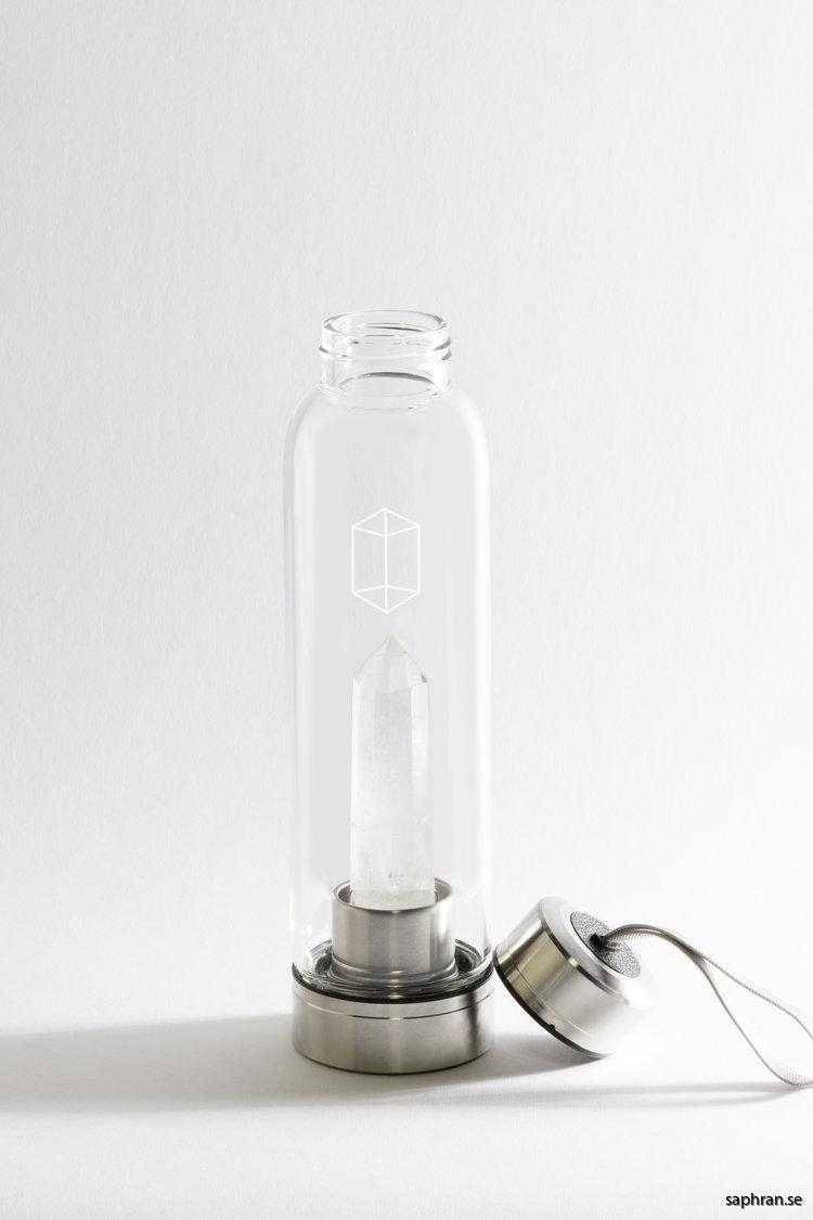 Glacce bergkristall komplett vattenflaska i glas avskruvat lock