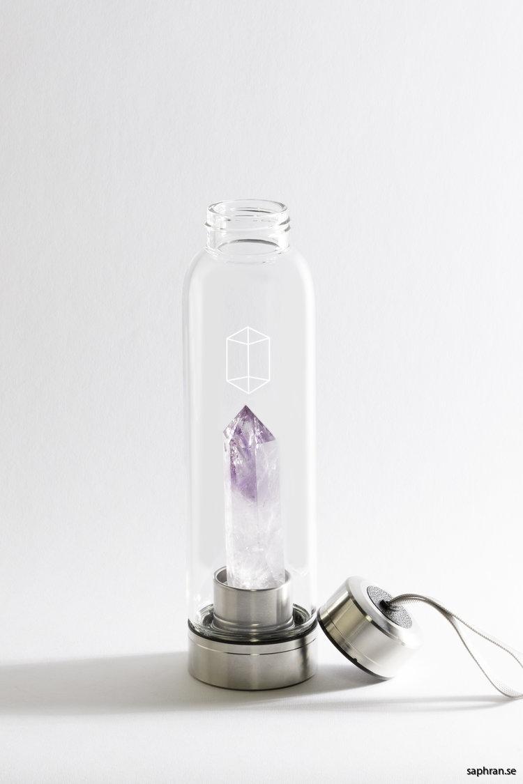 Glacce ametist komplett vattenflaska i glas avskruvat lock