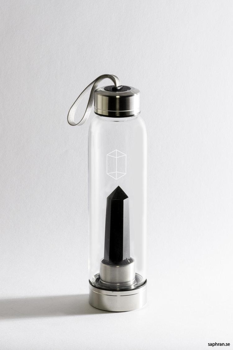 Glacce obsidian komplett vattenflaska i glas