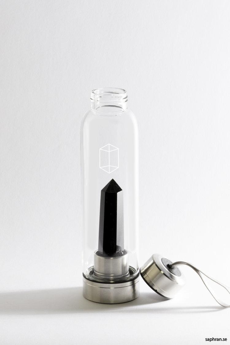Glacce obsidian komplett vattenflaska i glas avskruvat lock
