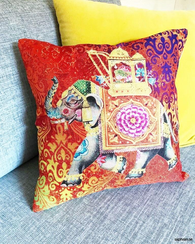 Kuddfodral med indisk elefant