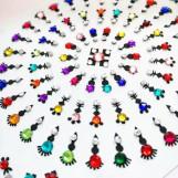 Bindi smycken stor karta - Färgglada