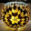 Rund orientalisk ljuslykta - Brun och guld