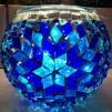 Rund orientalisk ljuslykta - Blå
