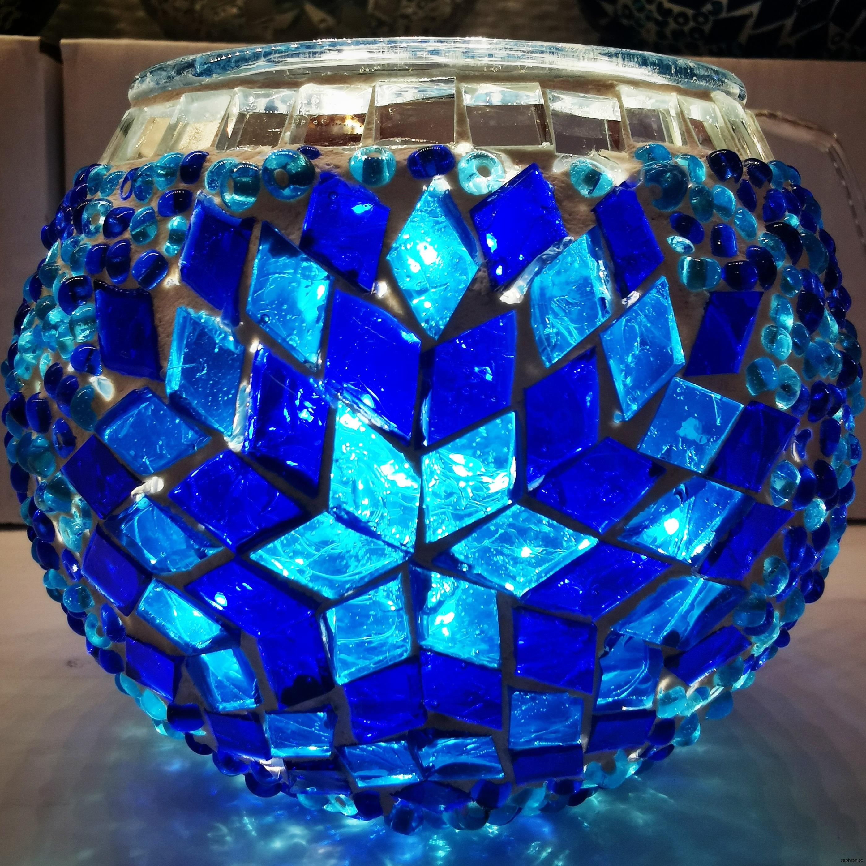 Mosaik, lykta, blå rund