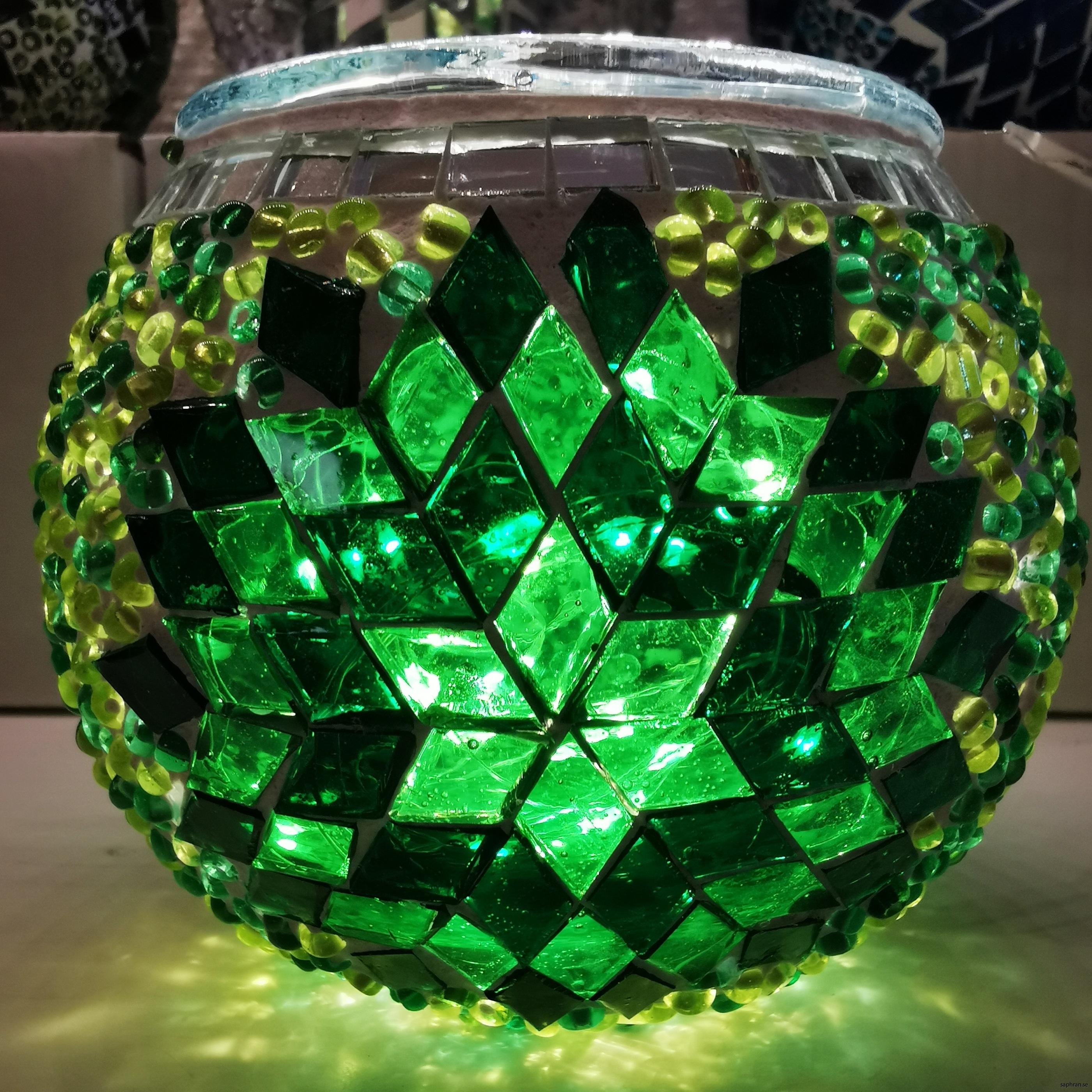 Mosaik, lykta, grön rund