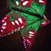 Glittrig färgglad julstjärna/adventsstjärna - GRÖN - Grön julstjärna