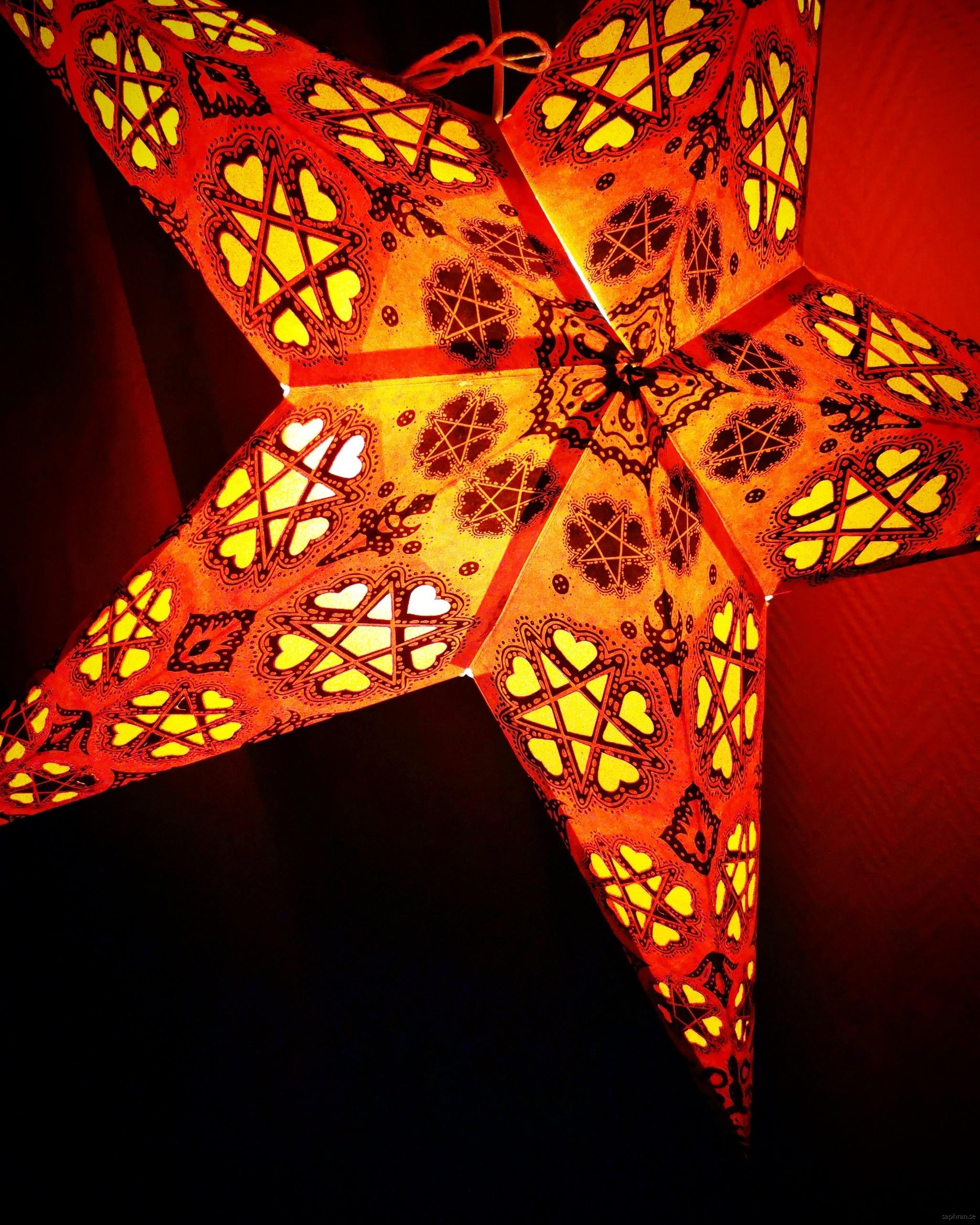 Röd kitschig julstjärna/adventsstjärna från Indien