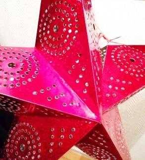 Glittrig julstjärna/adventsstjärna - RÖD - Röd