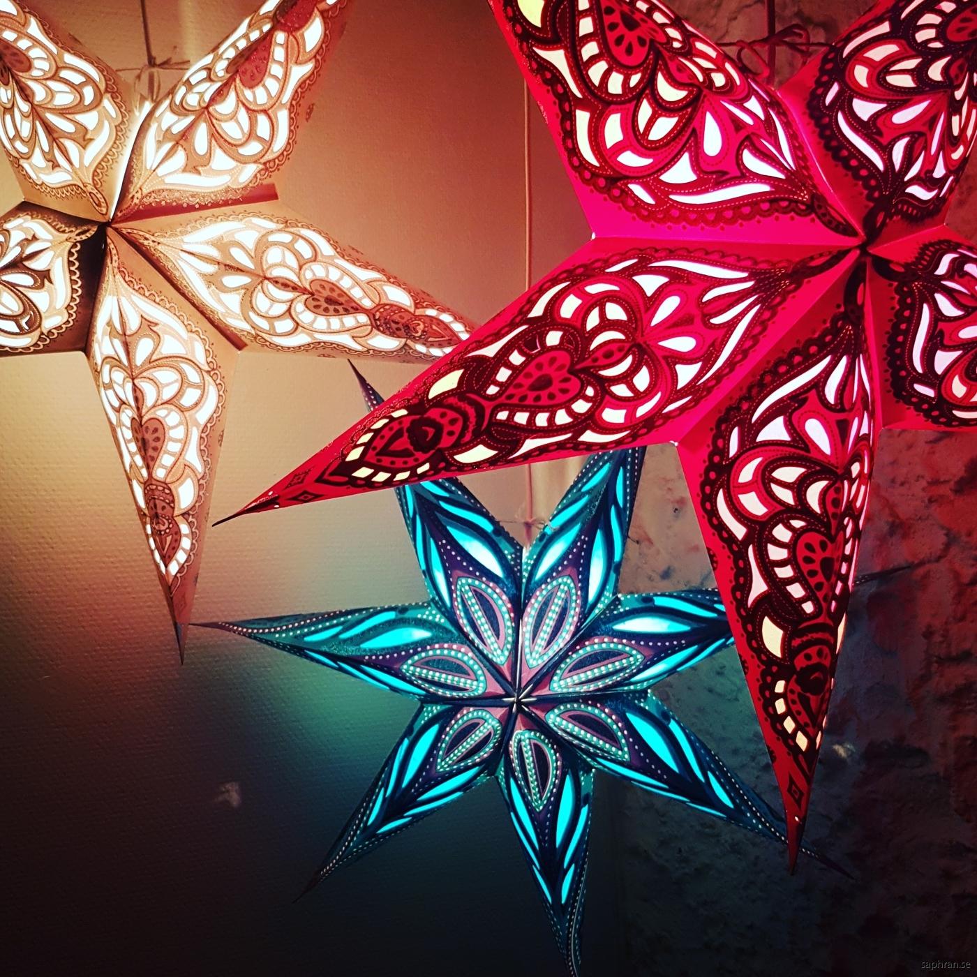 Traditionell julstjärna i silver som ger ett vackert sken när mörkret faller på