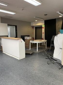 Uppbyggnad av nya lokalen på Griffelvägen