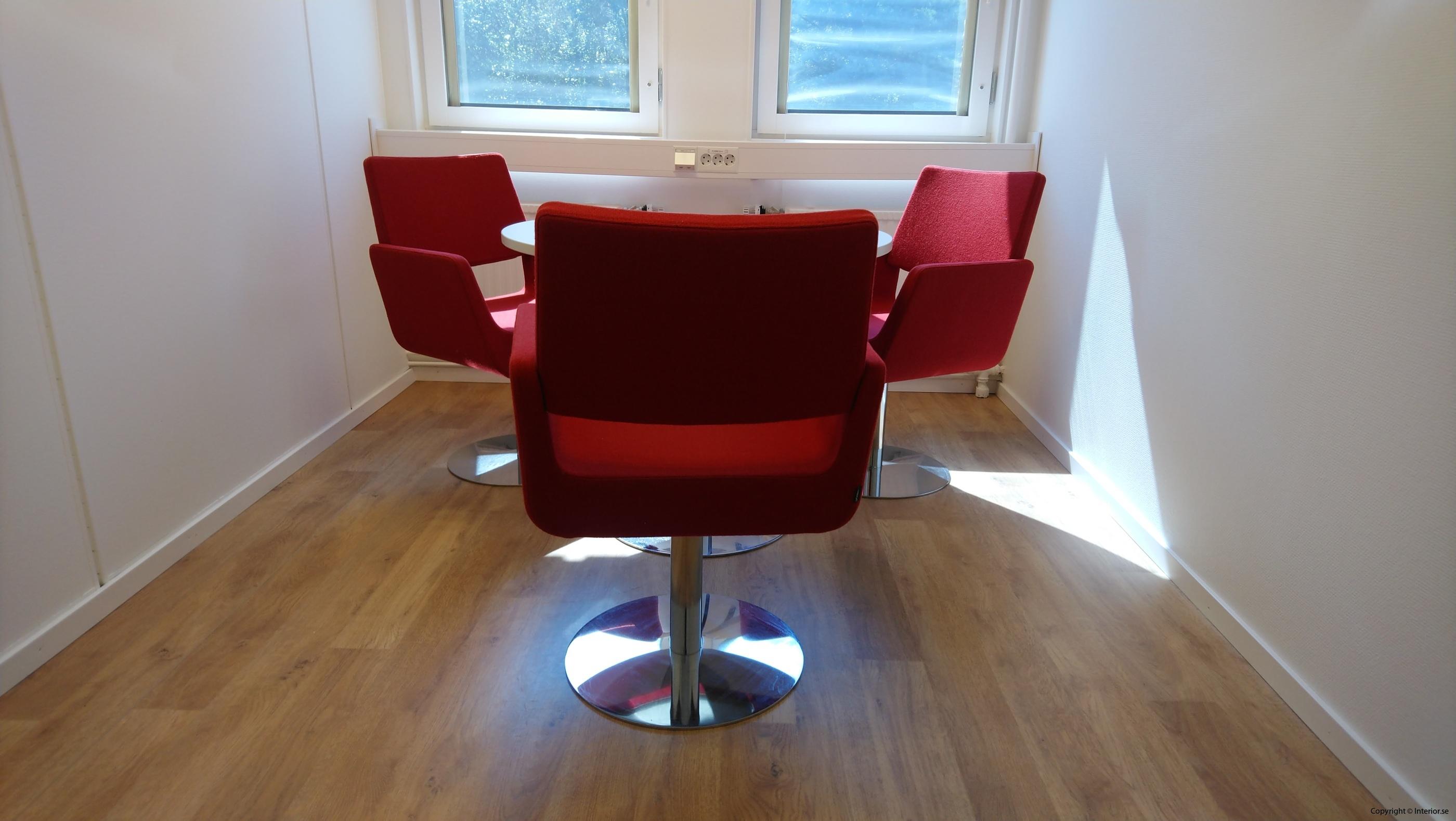 Loungegrupp, SA Möbler materia - 3 fåtöljer + bord - Loungemöbler begagnade designmöbler