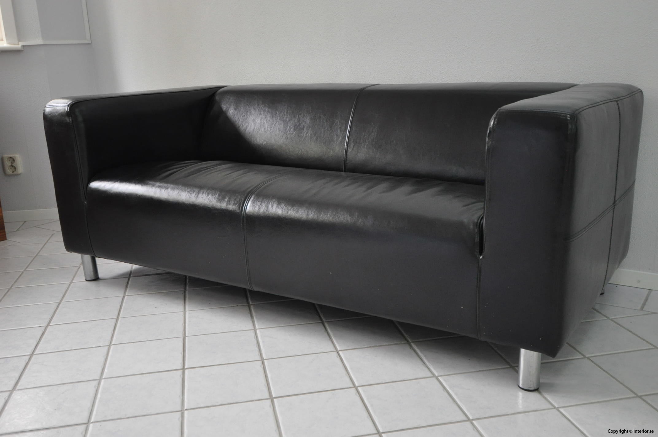 Soffa, IKEA Kramfors Svart skinn 2-sits (2)