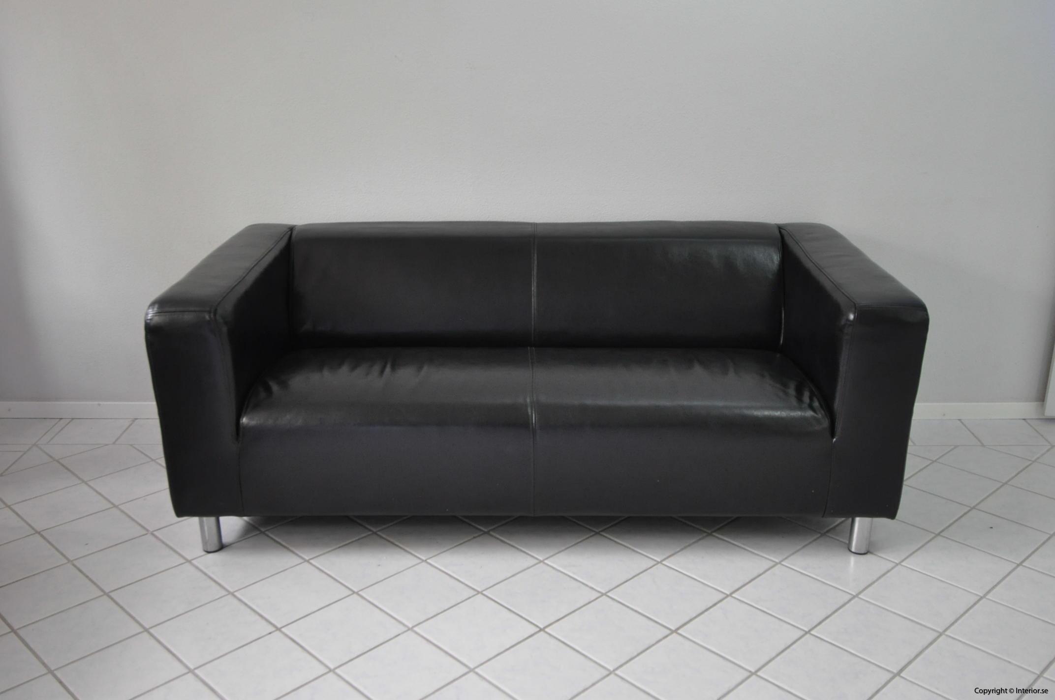 Soffa, IKEA Kramfors Svart skinn 2-sits