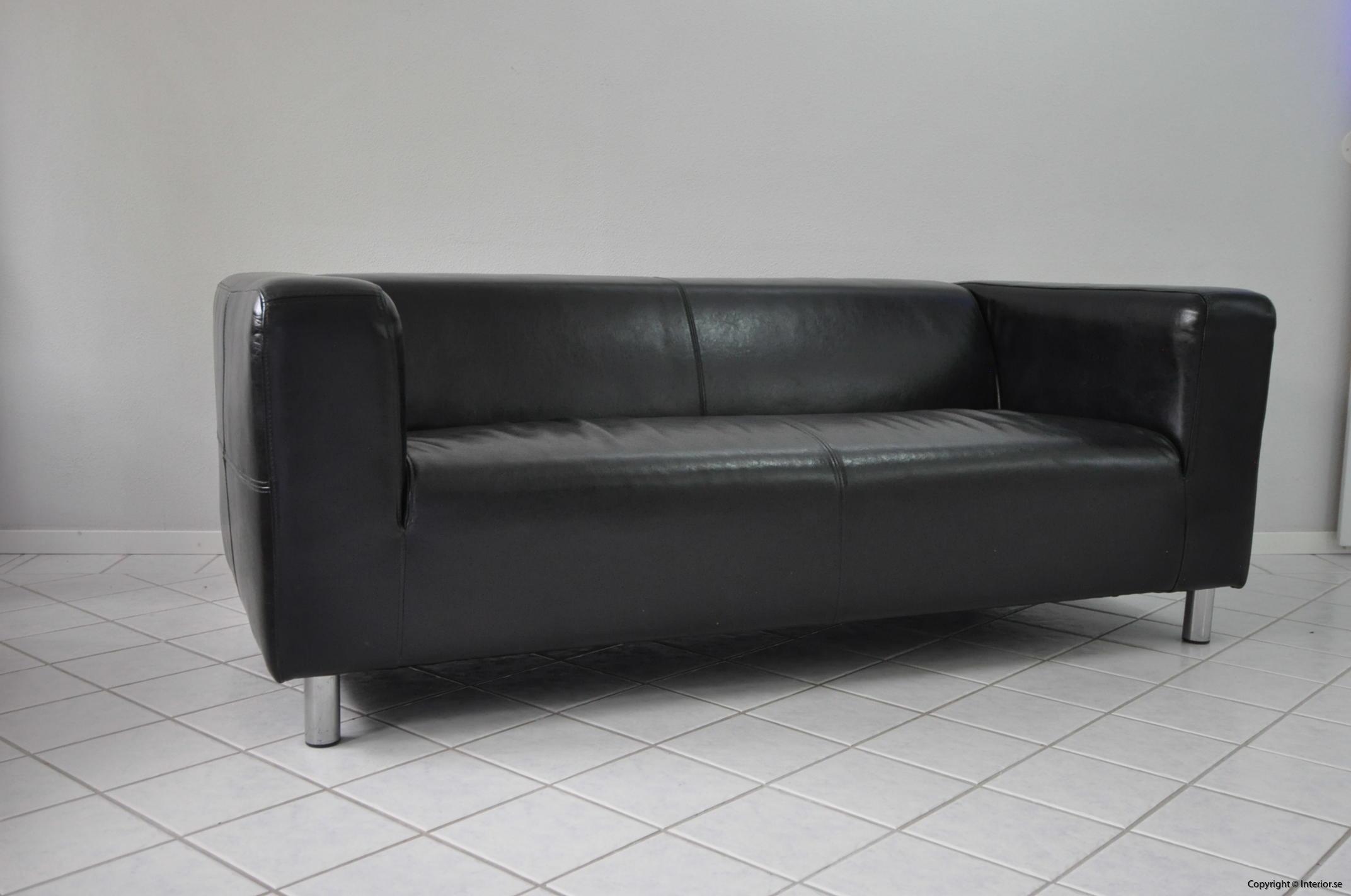 Soffa, IKEA Kramfors Svart skinn 2-sits (3)
