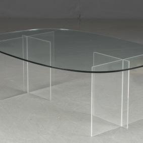 Soffbord med stativ i plexiglas & glasskiva