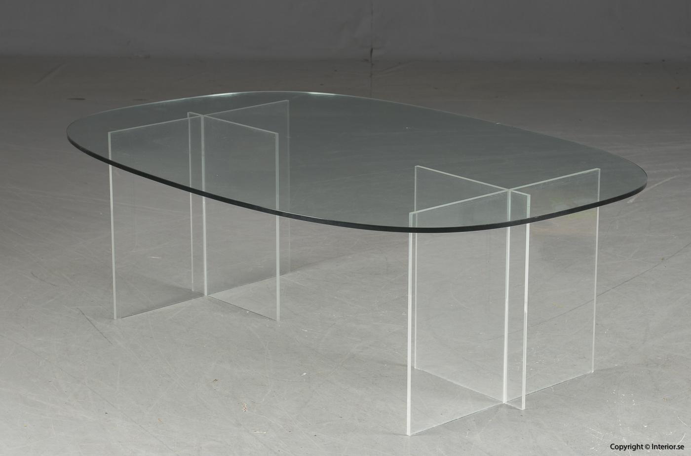 Soffbord med stativ i plexiglas & glasskiva  Coffee table with stand in plexiglass & glass plate Couchtisch mit Ständer aus Plexiglas & Glasplatte