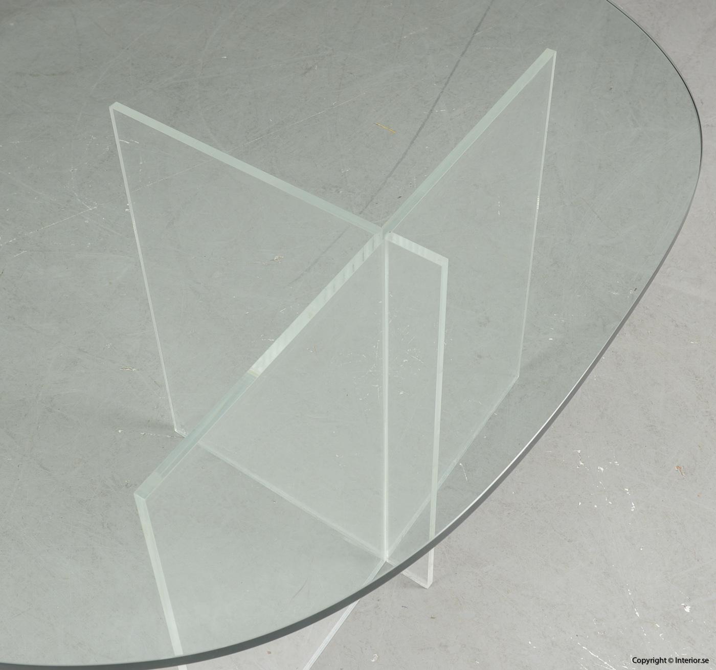 Soffbord med stativ i plexiglas & glasskiva  Coffee table with stand in plexiglass & glass plate Couchtisch mit Ständer aus Plexiglas & Glasplatte 5