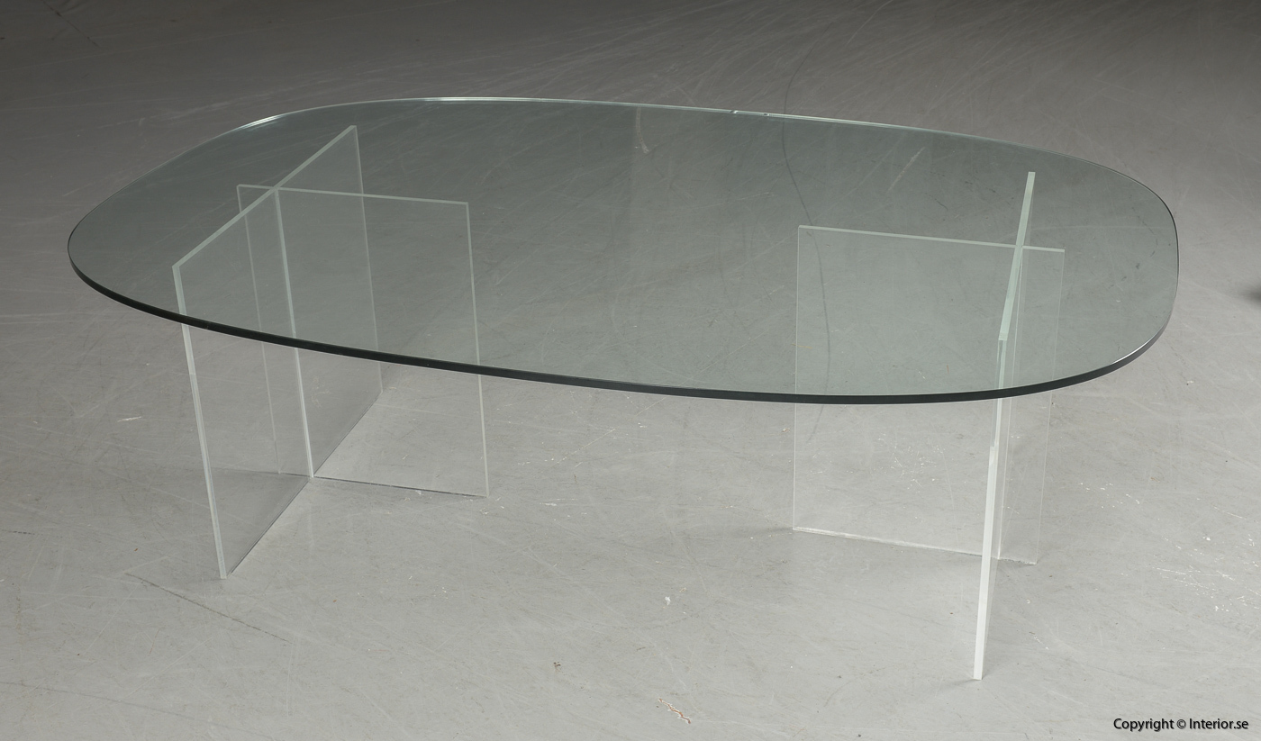 Soffbord med stativ i plexiglas & glasskiva  Coffee table with stand in plexiglass & glass plate Couchtisch mit Ständer aus Plexiglas & Glasplatte 2