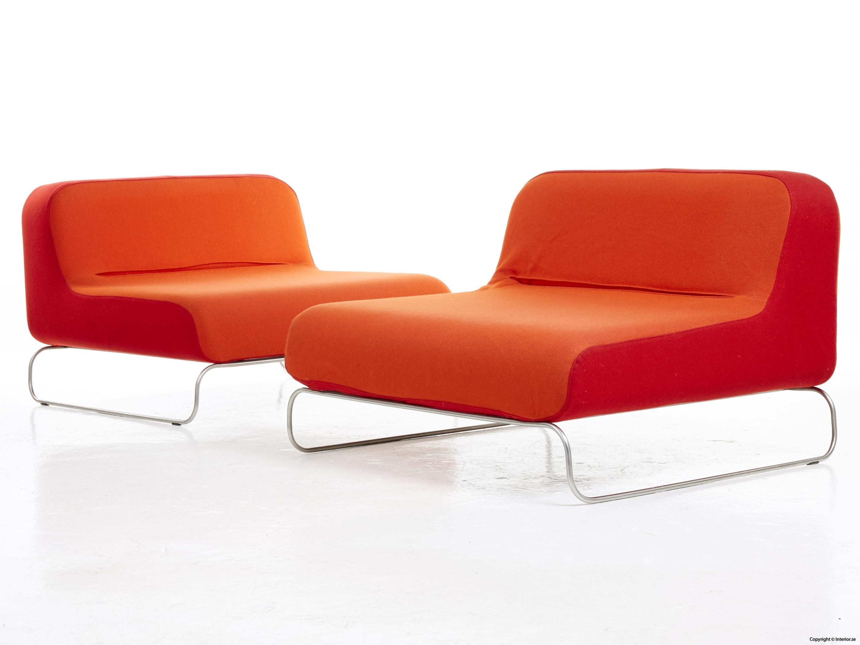 Låga loungefåtöljer, röd  orange snygga fåtöljer