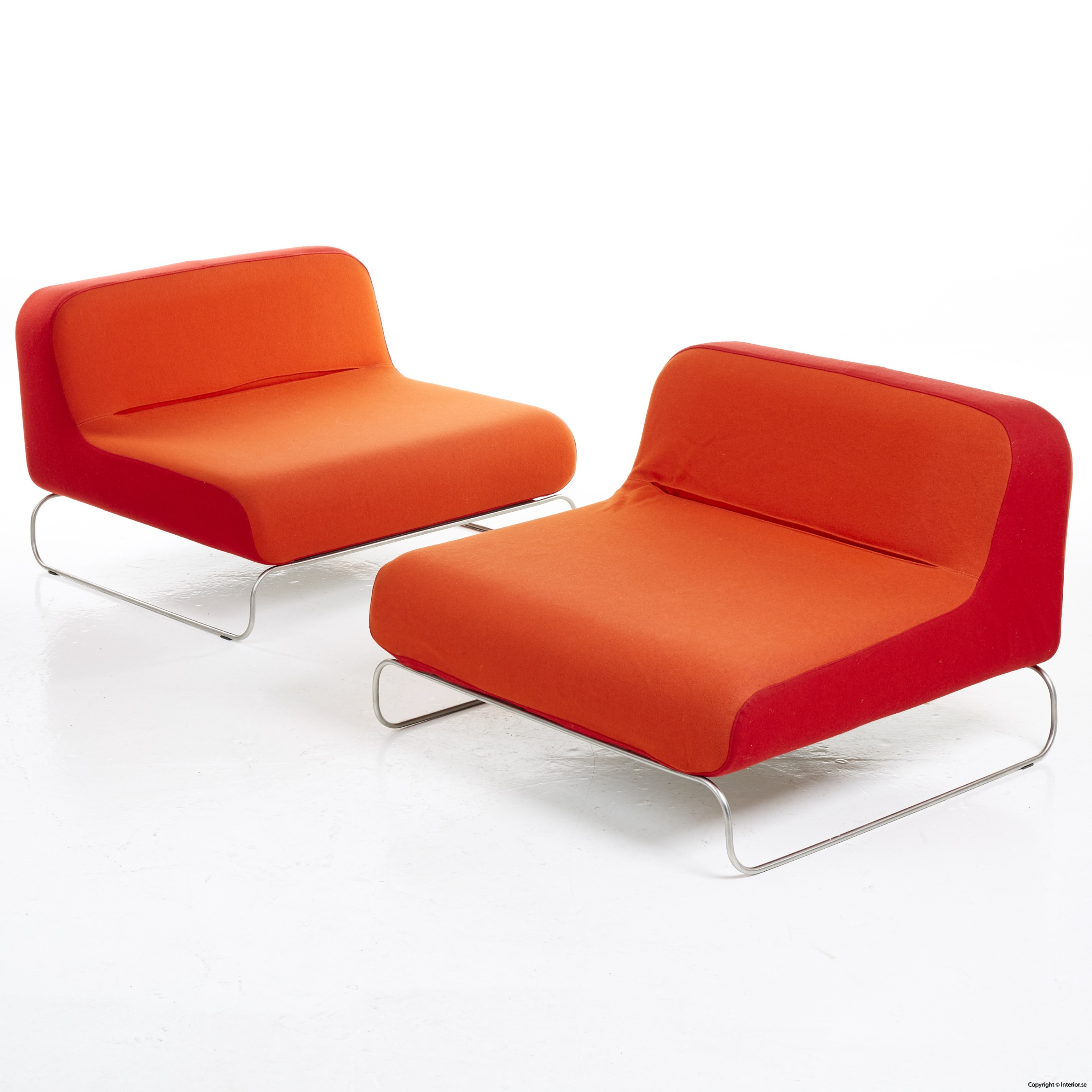 Låga loungefåtöljer, röd  orange snygga fåtöljer 2