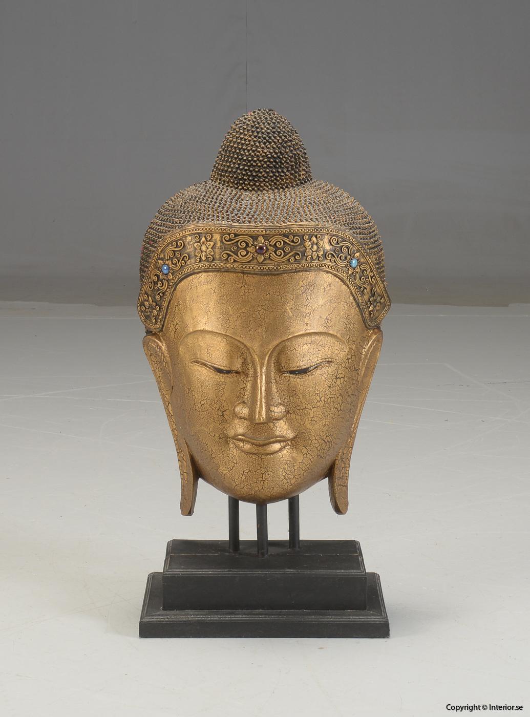 Stor Buddha mask från Thailand på stativ - 93 cm hög 2