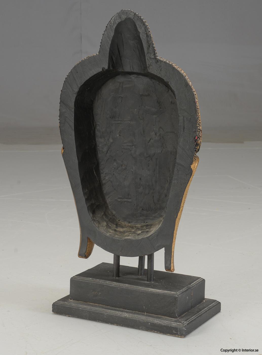 Stor Buddha mask från Thailand på stativ - 93 cm hög 4