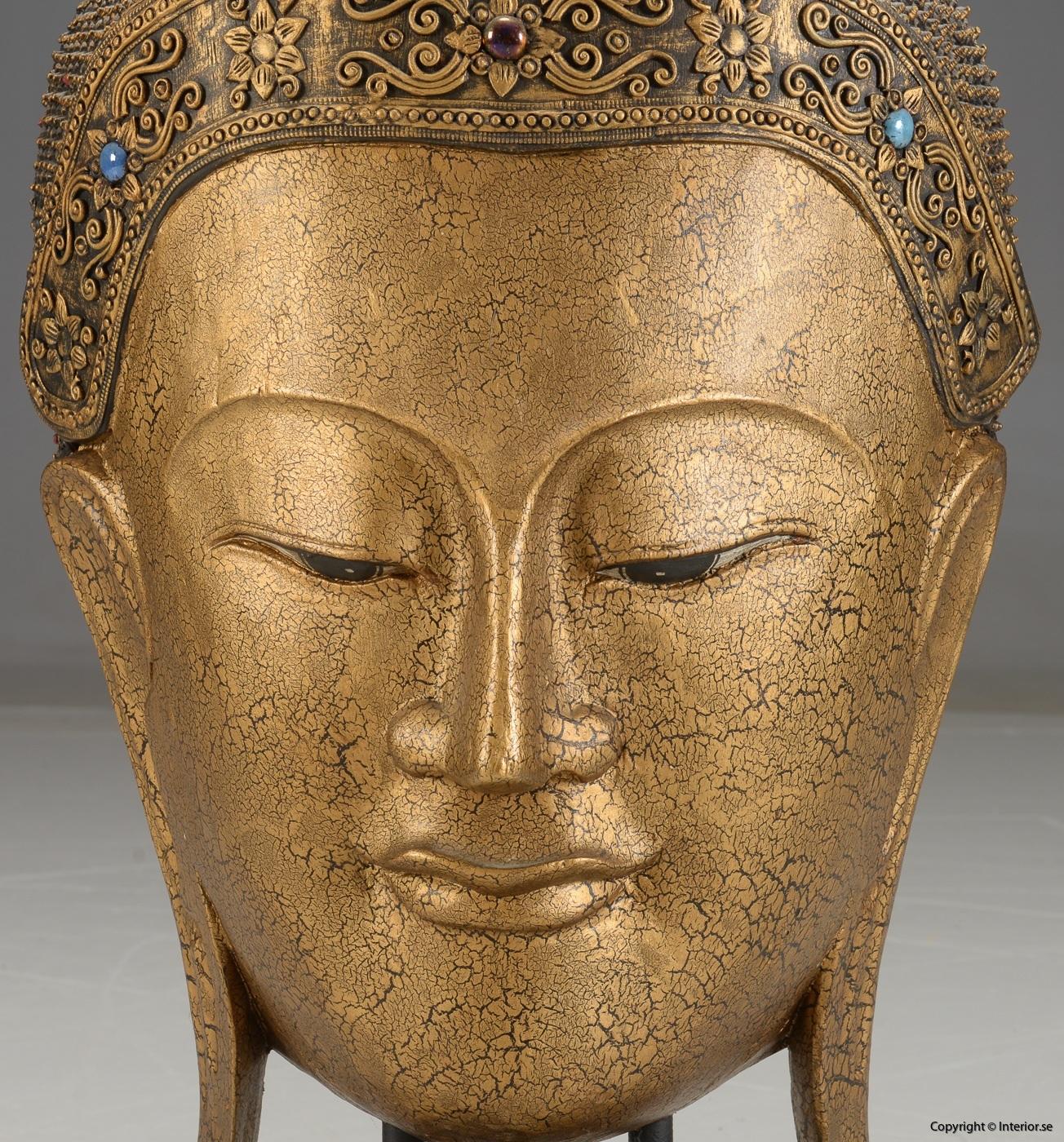 Stor Buddha mask från Thailand på stativ - 93 cm hög 3