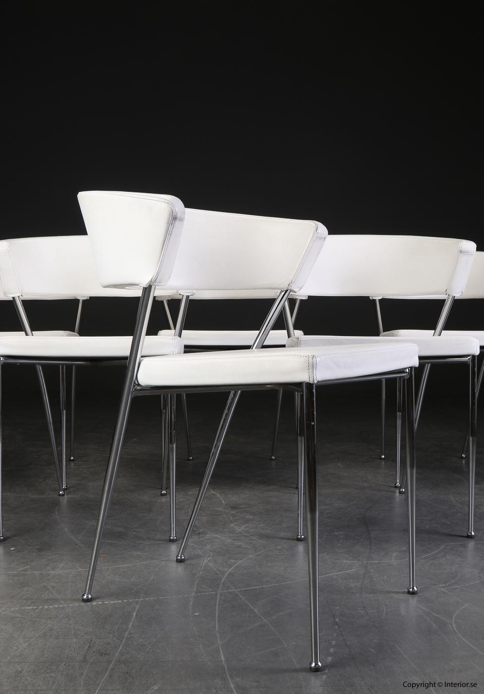 Konferensstolar i vitt skinn med  stålben conference chairs leather white 4