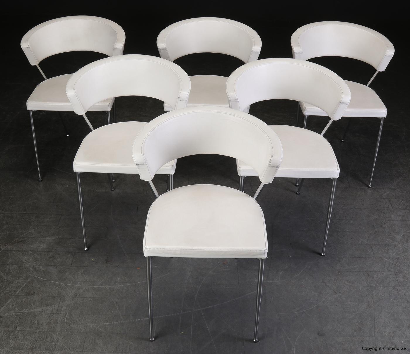 Konferensstolar i vitt skinn med  stålben conference chairs leather white 2