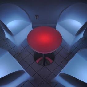 Hyr loungegrupp, 4 fåtöljer & bord - LED Uppladdningsbar