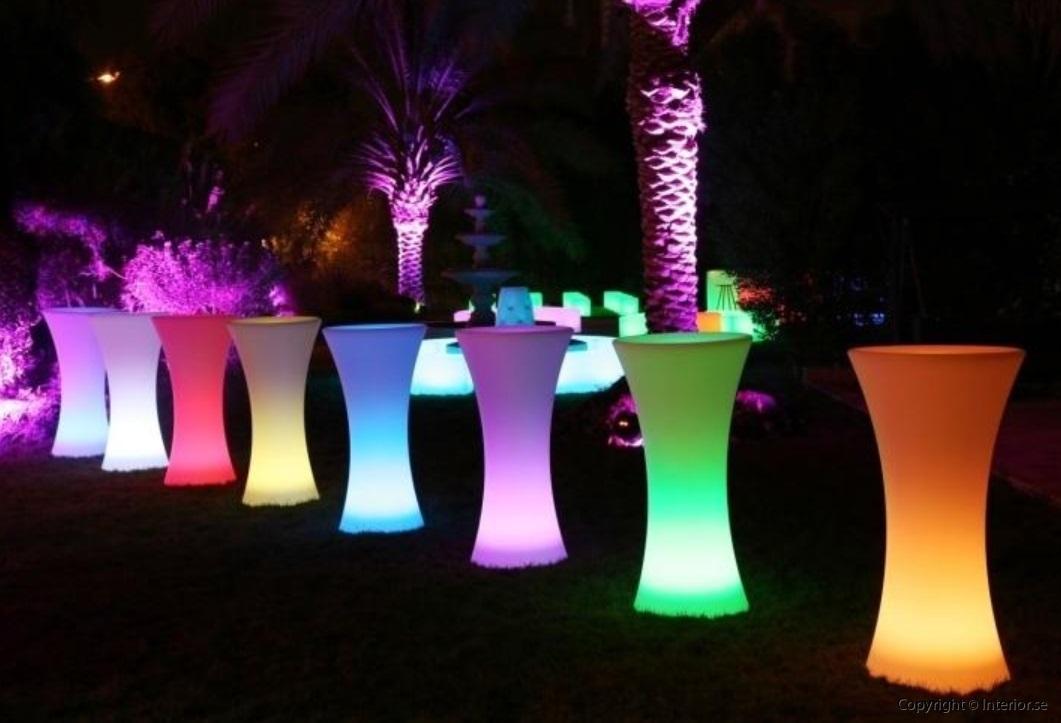 Hyra hyr ståbord barbord - RGB LED Uppladdningsbara ledmöbler event möbler stockholm 2