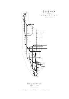 Affisch Subway Map Manhattan - Affisch Subway Map Manhattan - 50x50cm