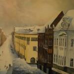 Vinter i Trelleborg, Östergatan 80x120cm 15000:-