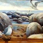 Måsar (ramen är målad på duken) 50x70 cm  4500:-