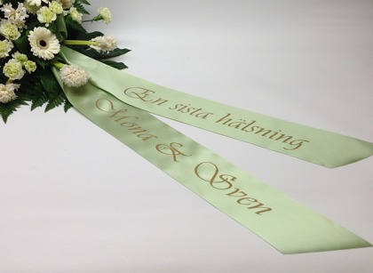 begravningsband med text