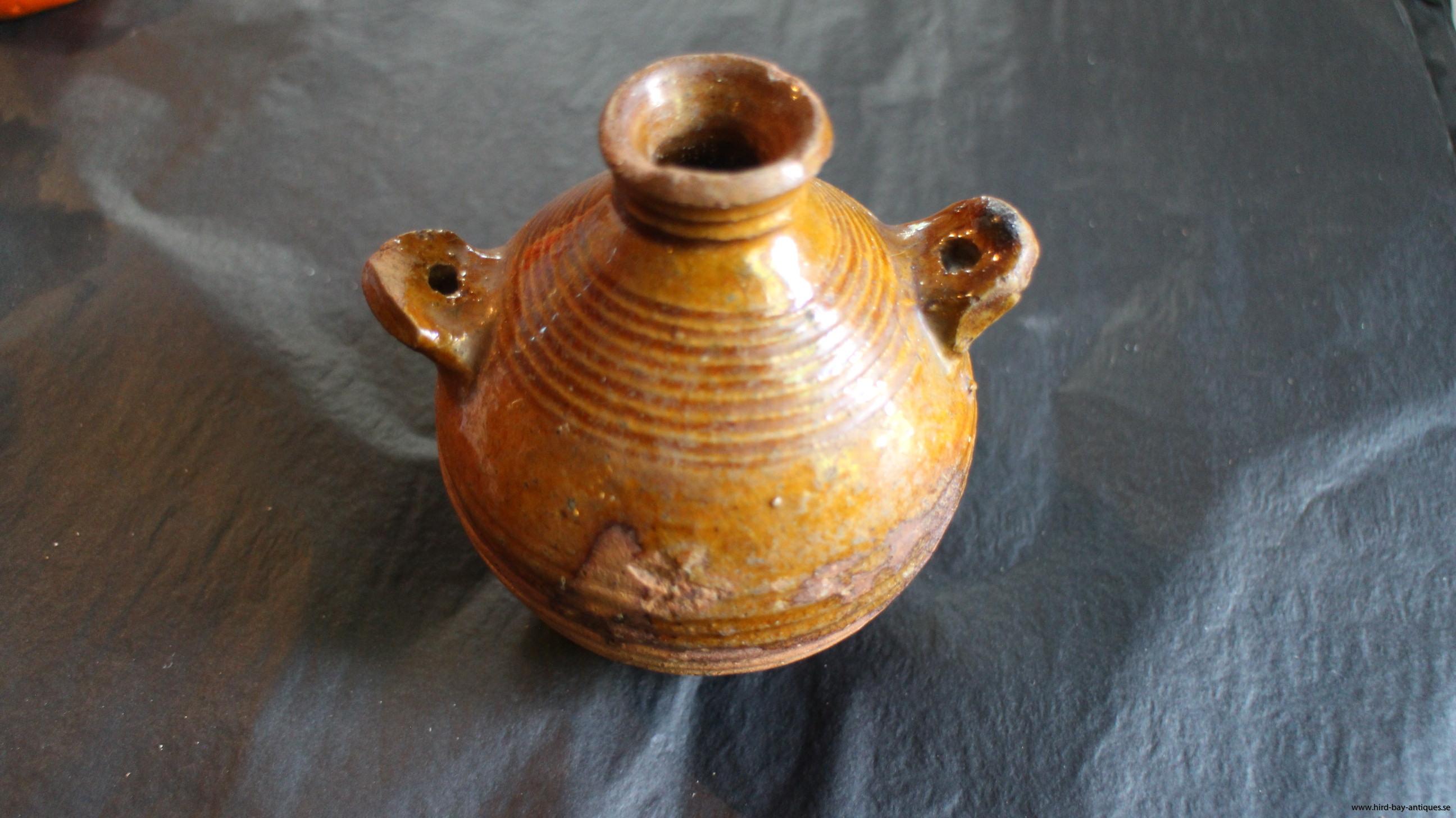 antik pilgrimsflska keramik