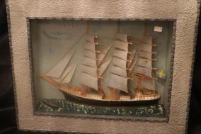 Diorama med skepp