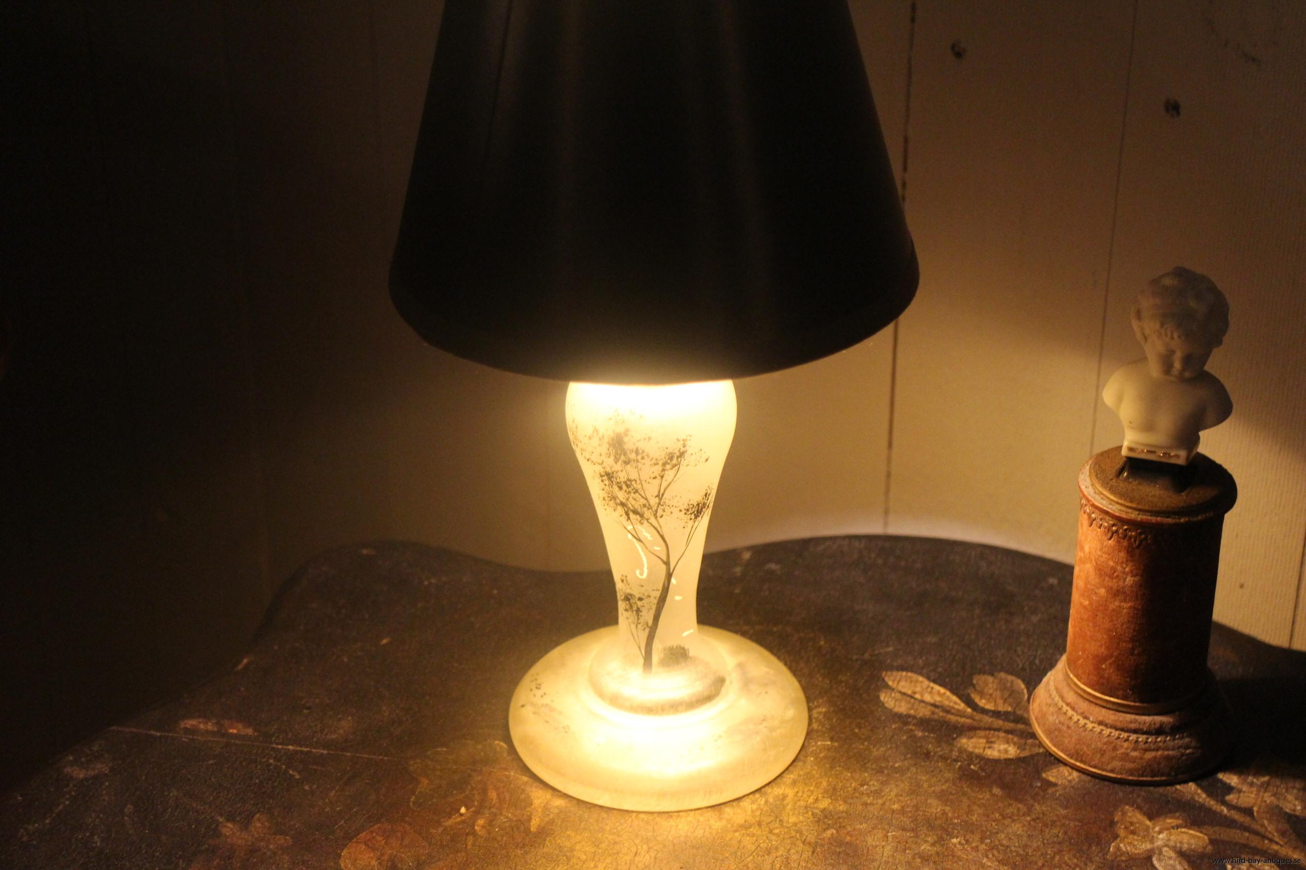 bordslampa glas målad