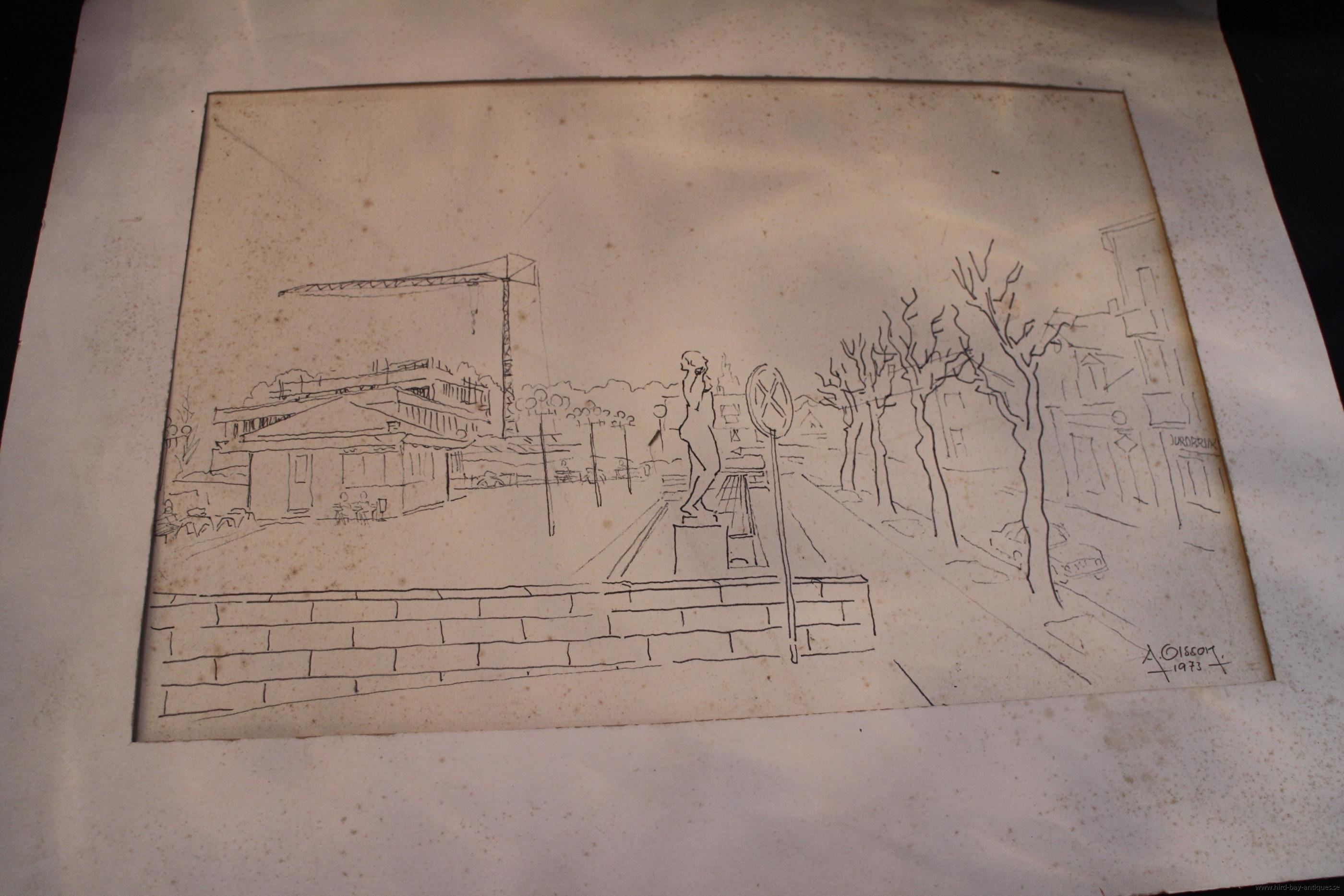 Allan Olsson torget Markaryd teckning