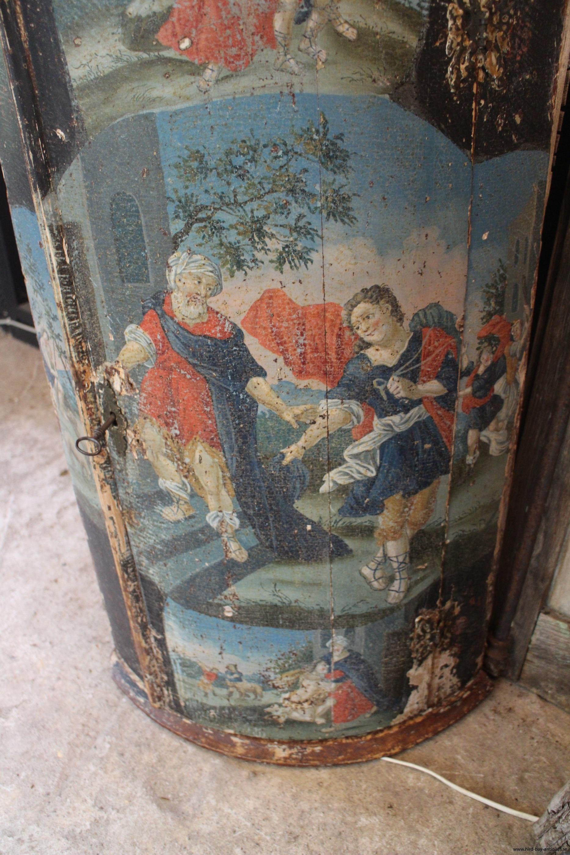 originalmålning 1700-tal hörnskåp