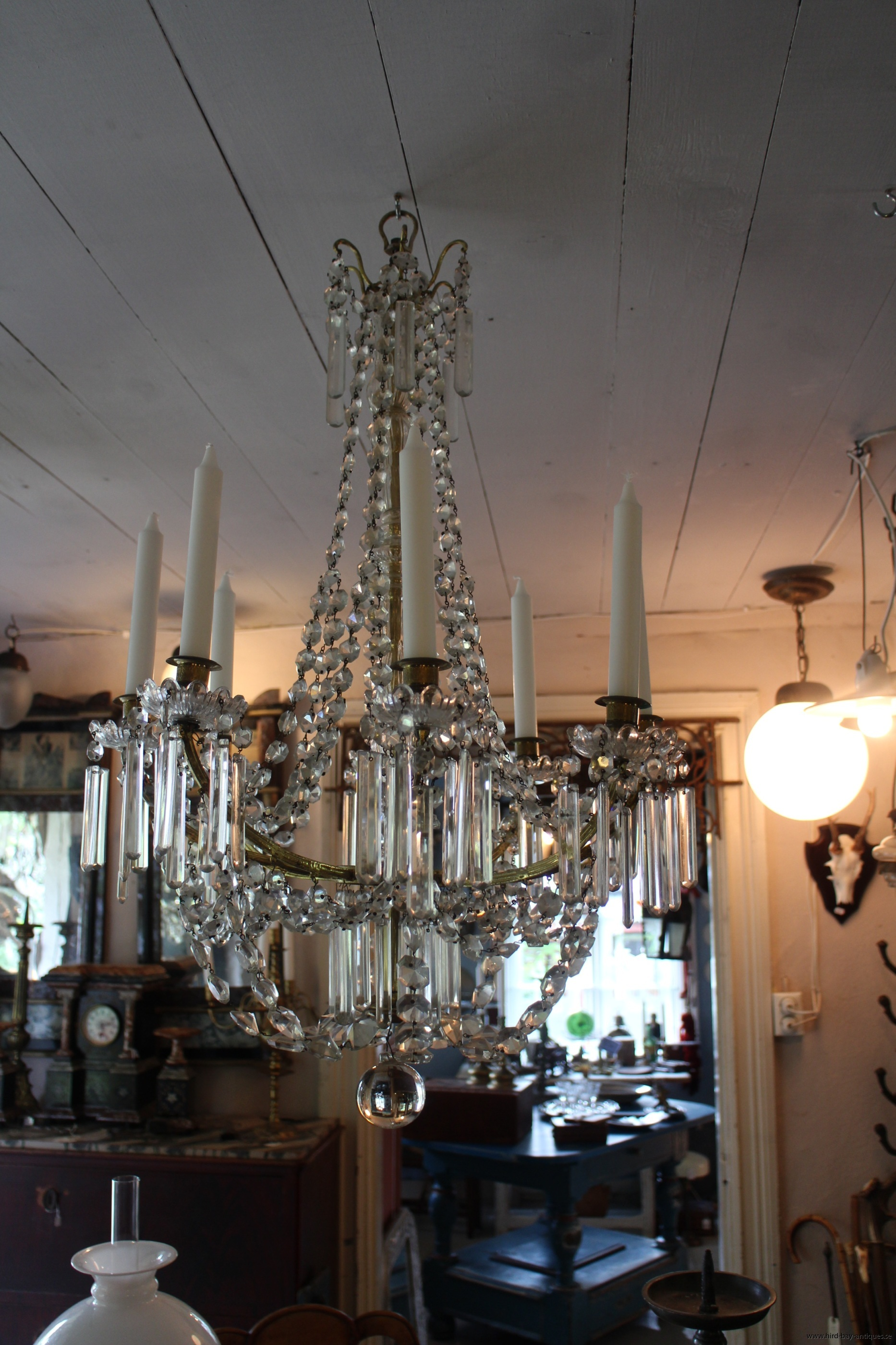 kristall ljuskrona oscariansk antik