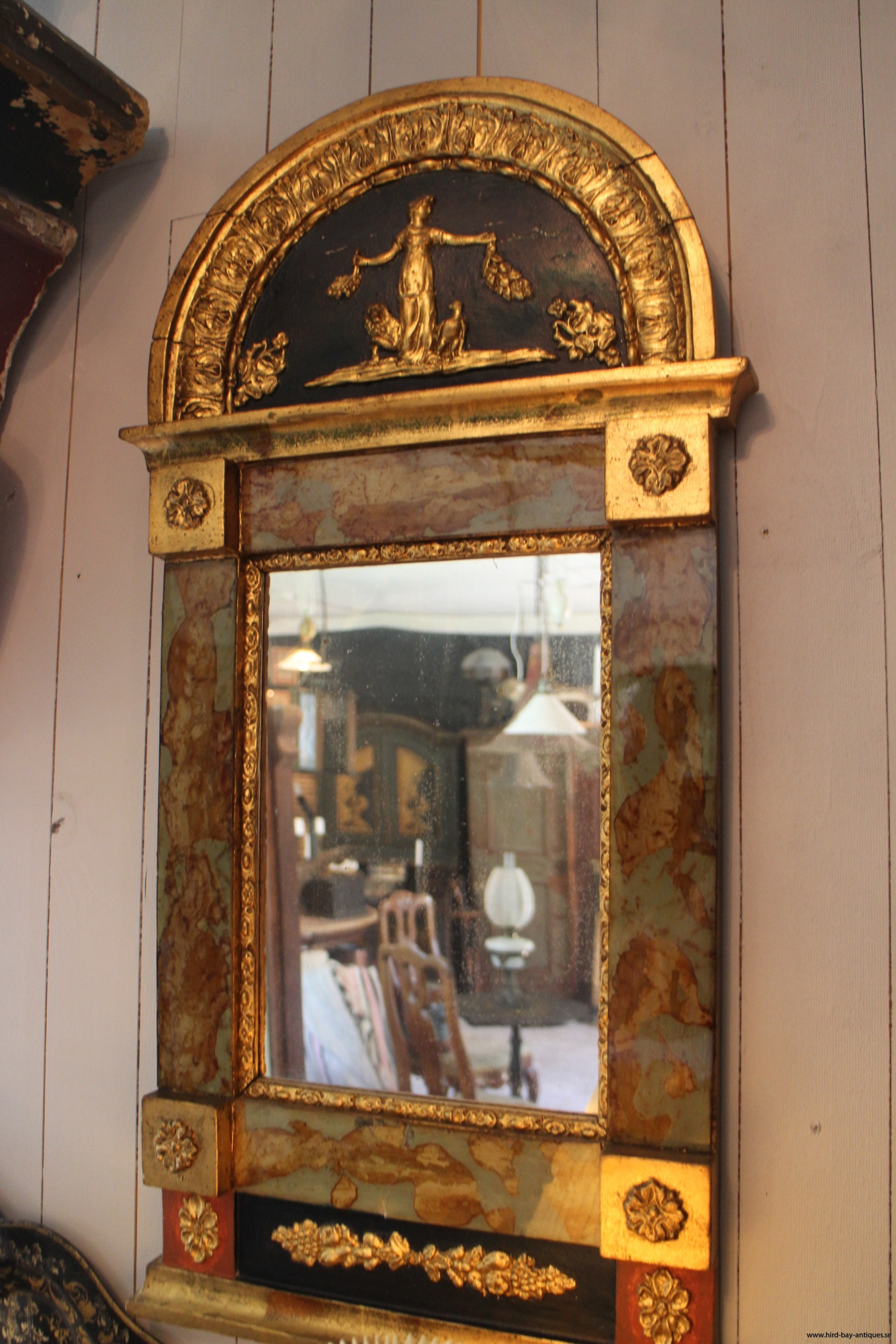 antik glasmästarspegel