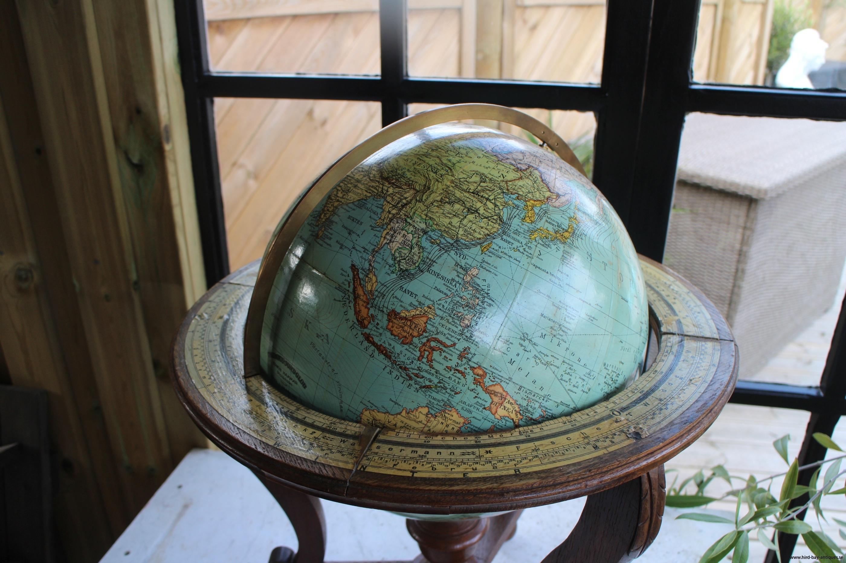 borsjordglob med kompass antik
