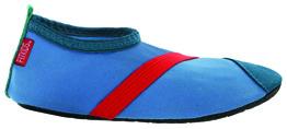 Barn Fitkicks, blå med röda detaljer. - Storlek S